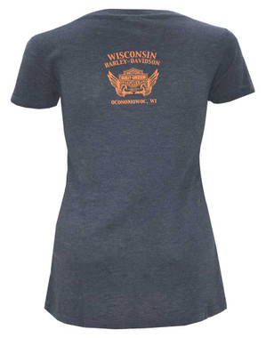 Harley-Davidson Women's Shock & Awe Short Sleeve Scoop Neck T-Shirt, Blue - Wisconsin Harley-Davidson