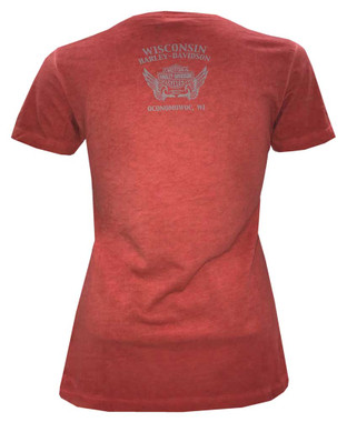 Harley-Davidson Women's Blaze Trails Short Sleeve V-Neck T-Shirt, Red Washed - Wisconsin Harley-Davidson