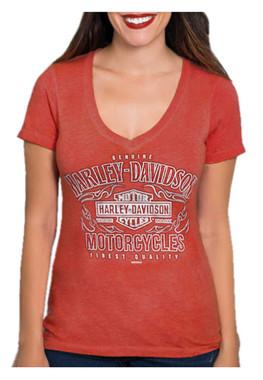 Harley-Davidson Women's Blaze Trails Short Sleeve V-Neck T-Shirt, Red Washed - Wisconsin Harley-Davidson