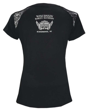 Harley-Davidson Women's Edge Of Glory Scoop Neck T-Shirt w/ Shoulder Lace, Black - Wisconsin Harley-Davidson