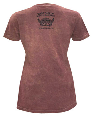 Harley-Davidson Women's Sweet Dreams Premium Short Sleeve Poly-Blend Washed Tee - Wisconsin Harley-Davidson