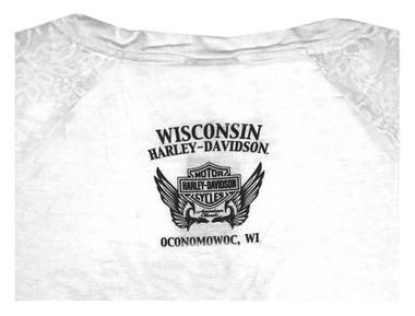 Harley-Davidson Women's Marvelous Lace & Stones Short Sleeve T-Shirt - White - Wisconsin Harley-Davidson
