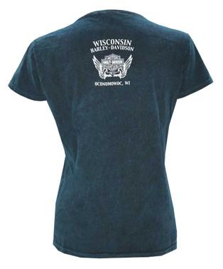 Harley-Davidson Women's Ornate Fuel Premium Short Sleeve Tee - Turquoise Wash - Wisconsin Harley-Davidson