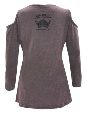 Harley-Davidson Women's Ambigram Premium Long Sleeve Tee w/ Cold Shoulders, Gray - Wisconsin Harley-Davidson