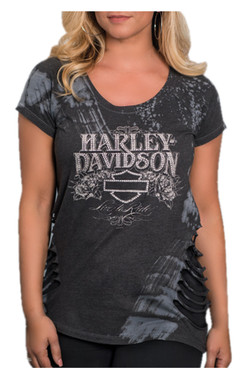 Harley-Davidson Women's Perfect Illusion Premium T-Shirt w/ Side Cuts - Gray - Wisconsin Harley-Davidson