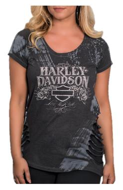 Harley-Davidson Women's Perfect Illusion Premium T-Shirt w/ Side Cuts - Gray - Wisconsin Harley-Davidson