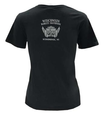 Harley-Davidson Women's Mandala Bling Premium V-Neck T-Shirt w/ Collar - Black - Wisconsin Harley-Davidson