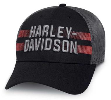 Harley-Davidson Men's Mesh Back 39THIRTY Stretch Fit Baseball Cap 97604-20VM - Wisconsin Harley-Davidson