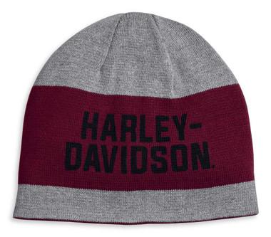 Harley-Davidson Men's Reversible Wide Stripe Knit Beanie Cap - Gray 97615-20VM - Wisconsin Harley-Davidson