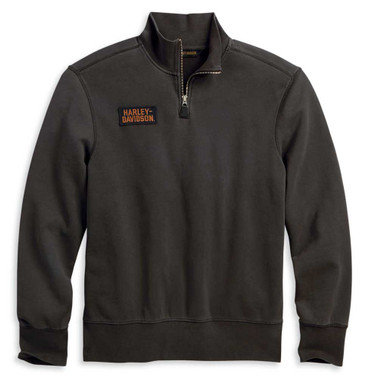 Harley-Davidson Men's 1/4-Zip Slim Fit Mock Neck Pullover Sweatshirt 96137-20VM - Wisconsin Harley-Davidson