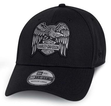 Harley-Davidson Men's Heritage Eagle 39THIRTY Baseball Cap, Black 97602-20VM - Wisconsin Harley-Davidson