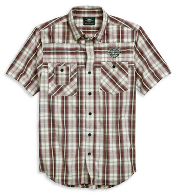 Harley-Davidson Men's Embroidered B&S Short Sleeve Plaid Woven Shirt 96124-20VM - Wisconsin Harley-Davidson