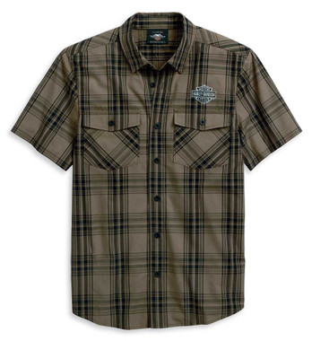 Harley-Davidson Men's Winged Logo Short Sleeve Woven Plaid Shirt 96114-20VM - Wisconsin Harley-Davidson