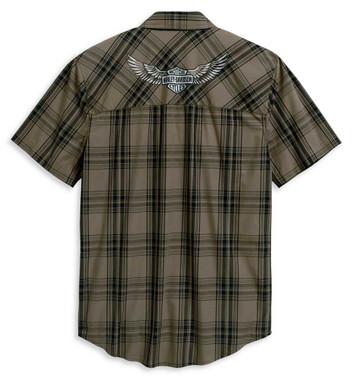 Harley-Davidson Men's Winged Logo Short Sleeve Woven Plaid Shirt 96114-20VM - Wisconsin Harley-Davidson