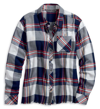 Harley-Davidson Women's Raw Hem Plaid Long Sleeve Woven Shirt 96059-20VW - Wisconsin Harley-Davidson