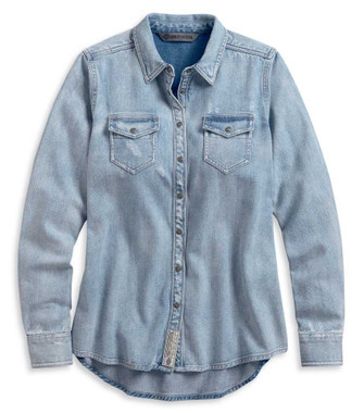 Harley-Davidson Women's Born For Speed Denim Long Sleeve Woven Shirt 96060-20VW - Wisconsin Harley-Davidson