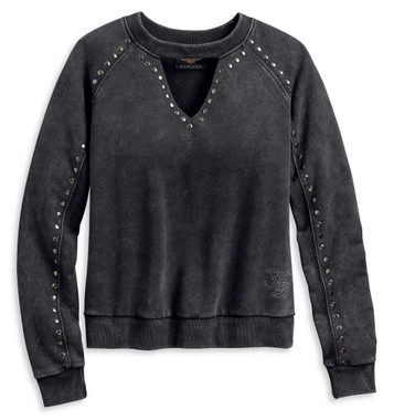 Harley-Davidson Women's Studded Winged Choker Pullover - Faded Black 96101-20VW - Wisconsin Harley-Davidson