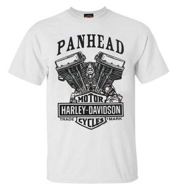 Harley-Davidson Men's Panhead Engine Short Sleeve Crew-Neck T-Shirt, White - Wisconsin Harley-Davidson