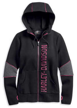 Harley-Davidson Women's Double Knit Four-Way Stretch Hoodie, Black 96102-20VW - Wisconsin Harley-Davidson