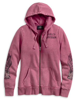 Harley-Davidson Women's Winged Sleeve Zip-Up Hoodie - Rose Pink 96100-20VW - Wisconsin Harley-Davidson