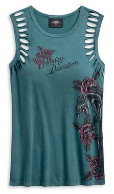 Harley-Davidson Women's Slash Cuts Armhole Sleeveless Tee, Blue 96077-20VW - Wisconsin Harley-Davidson