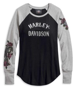Harley-Davidson Women's Colorblock Raglan Rib-Knit Long Sleeve Shirt 96074-20VW - Wisconsin Harley-Davidson