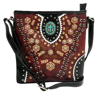 That's A Wrap Women's Embroidered Leather & Stones Crossbody Purse HB-GW136-RED - Wisconsin Harley-Davidson