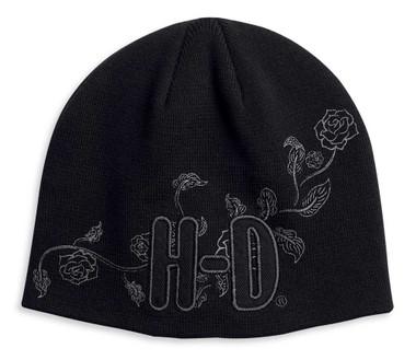 Harley-Davidson Women's Embroidered Roses Knit Beanie Hat - Black 97621-20VW - Wisconsin Harley-Davidson
