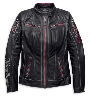Harley-Davidson Women's Embroidered Cant Leather Jacket, Black 97011-20VW - Wisconsin Harley-Davidson