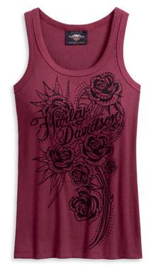 Harley-Davidson Women's Embellished Roses Sleeveless Tank Top, Red 96201-20VW - Wisconsin Harley-Davidson