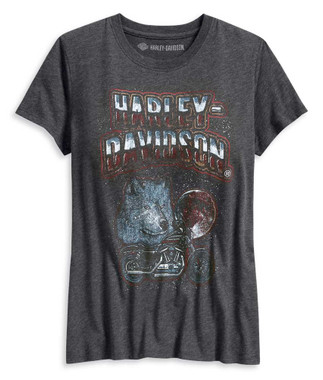 Harley-Davidson Women's Howl At The Moon Short Sleeve Tee, Gray 96200-20VW - Wisconsin Harley-Davidson