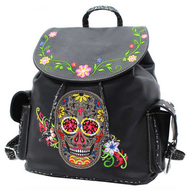 That's A Wrap Women's Embroidered Sugar Skull & Floral Backpack BP2931-BLACK - Wisconsin Harley-Davidson