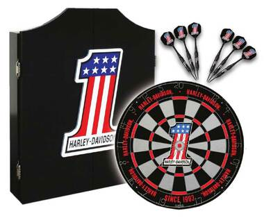 Harley-Davidson #1 Racing Logo Dart Board Kit – Black Wooden Cabinet 61893 - Wisconsin Harley-Davidson