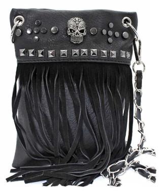 That's A Wrap Womens Skull Eye Lash Fringe Hip Bag w/Detachable Strap HB1536-BLK - Wisconsin Harley-Davidson