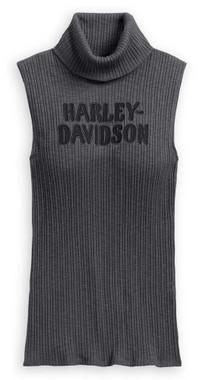 Harley-Davidson Women's Sleeveless Rib-Knit Mockneck Tank, Gray 96193-20VW - Wisconsin Harley-Davidson