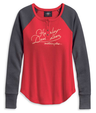 Harley-Davidson Women's World Famous Colorblocked Henley, Red/Gray 96191-20VW - Wisconsin Harley-Davidson