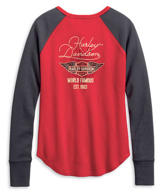 Harley-Davidson Women's World Famous Colorblocked Henley, Red/Gray 96191-20VW - Wisconsin Harley-Davidson