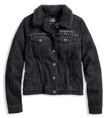Harley-Davidson Women's Sherpa Fleece Lined Denim Jacket, Black 97410-20VW - Wisconsin Harley-Davidson