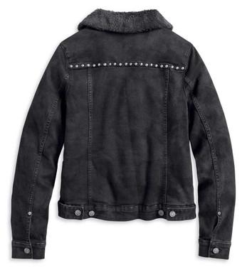 Harley-Davidson Women's Sherpa Fleece Lined Denim Jacket, Black 97410-20VW - Wisconsin Harley-Davidson