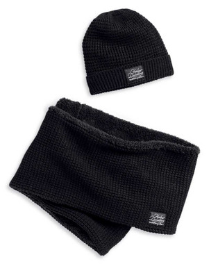 Harley-Davidson Women's Fleece Lined Knit Hat & Scarf Set - Black 97620-20VW - Wisconsin Harley-Davidson
