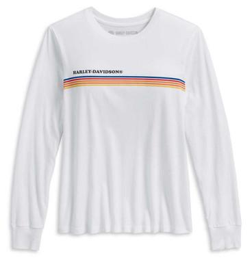 Harley-Davidson Women's Chest Stripe Long Sleeve T-Shirt, White 96183-20VW - Wisconsin Harley-Davidson