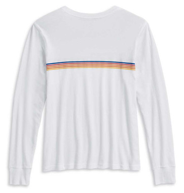 Harley-Davidson Women's Chest Stripe Long Sleeve T-Shirt, White 96183-20VW - Wisconsin Harley-Davidson