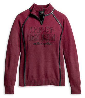 Harley-Davidson Women's Embroidered 1/4-Zip Ski Sweater, Red 96177-20VW - Wisconsin Harley-Davidson