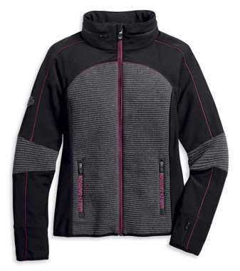 Harley-Davidson Women's Mixed Media Textured Colorblocked Knit Jacket 97409-20VW - Wisconsin Harley-Davidson