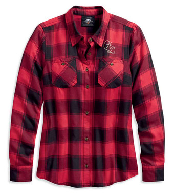 Harley-Davidson Women's World Famous Plaid Long Sleeve Shirt, Red 96168-20VW - Wisconsin Harley-Davidson