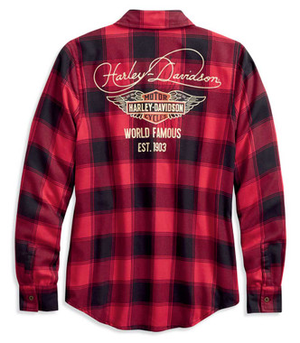 Harley-Davidson Women's World Famous Plaid Long Sleeve Shirt, Red 96168-20VW - Wisconsin Harley-Davidson