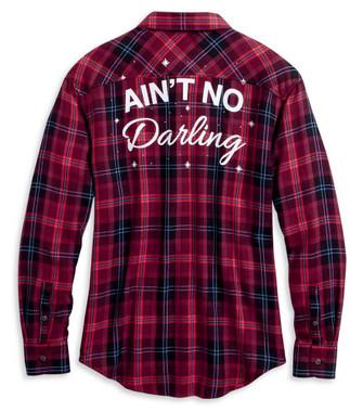 Harley-Davidson Women's Ain't No Darling Plaid Long Sleeve Shirt 96164-20VW - Wisconsin Harley-Davidson
