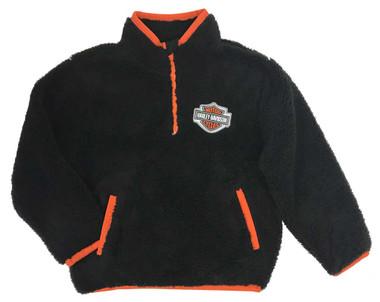 Harley-Davidson Big Boys' B&S 1/4-Zip Sherpa Pullover Sweatshirt, Black & Orange - Wisconsin Harley-Davidson