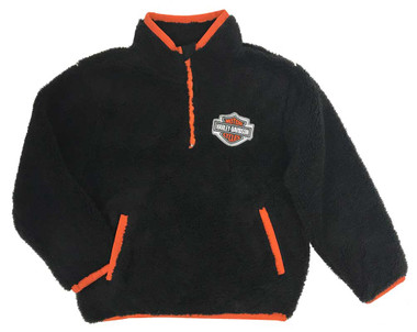 Harley-Davidson Little Boys' B&S 1/4-Zip Sherpa Pullover Sweatshirt Black/Orange - Wisconsin Harley-Davidson