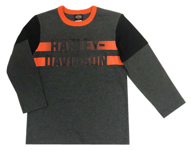 Harley-Davidson Little Boys' Knit Striped Long Sleeve Shirt, Dark Gray 1074925 - Wisconsin Harley-Davidson